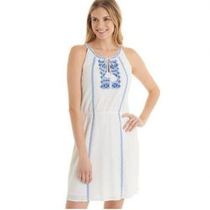 NWT Bass Embroidered Front Woven Halter Dress Sz.L